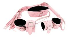 Strict Leather Pink Bondage Set $74.50. Bind your lover in sweet, innocent pink, and do all the naughty things to them that you have been promising! This matching pink bondage set includes a collar, whip, and wrist and ankle cuffs that are perfect for restricting your playmate in style. The sturdy collar and cuffs are lined with luxurious black faux fur so that your partner can enjoy a plush, comfortable experience while being kept totally under control