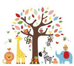 Bright Baby Nursery Pattern Tree and Jungle Animals Set - Vinyl Wall Art Decal. $149.00, via Etsy.