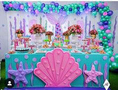 68 Trendy Ideas For Birthday Party Frozen Decoration Kids Frozen Decorations, Mermaid Party Decorations, Birthday Party Decorations, Birthday Parties, Mermaid Birthday Cakes, Little Mermaid Birthday, Little Mermaid Parties, Girl Birthday Themes, Partys