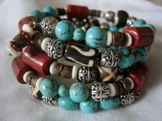 Turquoise and Coral Memory Wire Bracelet