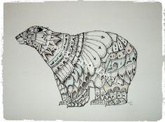 Zentangle art Polar Bear Wall art by CanadianArtBeats on Etsy, $40.00