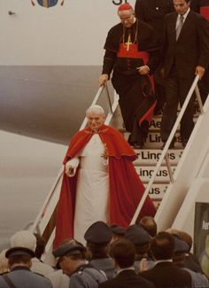 Bl. Pope John Paul II visits Boston in October 1979. Cardinal Humberto Medeiros of Boston is descending the steps of the plane behind the Holy Father.