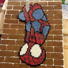 Spiderman on canvas - Perler pixel art by bigheadpixelart