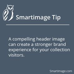 A compelling header image (or cover photo) can create a stronger brand experience for your collection visitors.