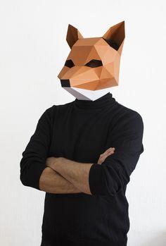DIY Fuchsmaske für Halloween, Karneval und Co., runterladen und falten / diy fox mask, halloween, printout, printable by awesomepatterns via DaWanda.com
