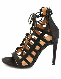 Caged Lace Up Heels