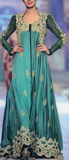 Buy Sea Green/Bottle Green Embroidered A-Line front open with Tail Crinkle Chiffon Party Dress by PakRobe.com