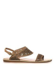 Floral laser-cut leather sandals   Nicholas Kirkwood   MATCHES...
