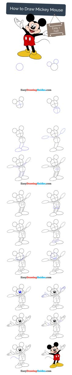 Learn How to Draw Mickey Mouse: Easy Step-by-Step Drawing Tutorial for Kids and Beginners. #mickeymouse #drawing. See the full tutorial at https://easydrawingguides.com/how-to-draw-mickey-mouse/
