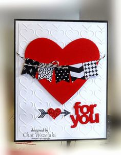 Simply Simple: Stamps:  What's Up Paper:  Whisper White, Real Red, Basic Black, Stacked with Love DSP Ink: Memento Black Accessories: baker's twine Tools:  happy heart EF, heart framelit, itty bitty accent heart punch, mini treat bag framelit, banner punch, what's up punch