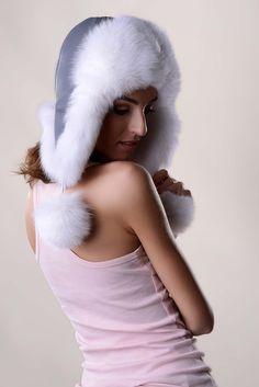 Fox fur hat, colour white with gray Russian Hat, Fur Hats, Arctic Fox, Fox Fur, Furs, New Trends, Hats For Women, Heavy Metal, Winter Hats