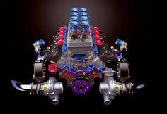 twin turbo LSX rendered in KeyShot Ls Engine, Bike Engine, Motor Engine, Hemi Engine, Performance Engines, Performance Cars, Chevy, Motor Diesel, Crate Engines