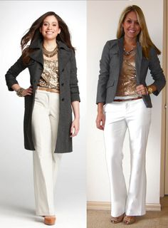 sequin top...white pants...different blazers