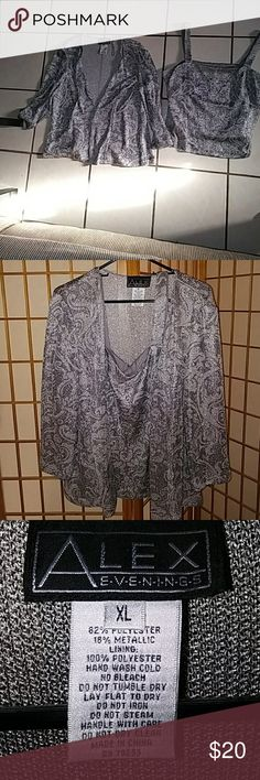 Nwot Alex Evenings 2 pc set Metallic grey tank and cardigan nwot xl set. Bought but never worn. Great for an evening out! No trades at this time. Alex Evenings Sweaters Cardigans