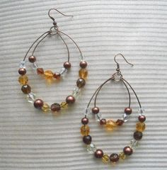 Double Hoop Beaded Earrings