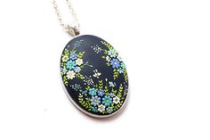 Gift-for-bride Boho-jewelry Gift-for-wife Boho-necklace Art necklace Floral Pendant Gift-for-her Gift-women Embroidery pendant Romantic gift