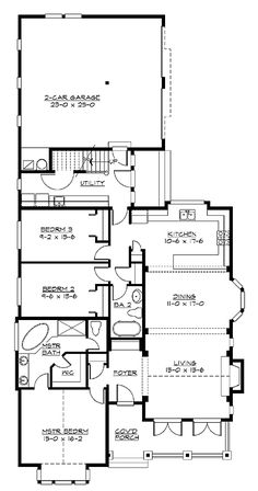Stylish Plan For A Narrow Lot HWBDO Bungalow House Plan - Craftsman style narrow house plans