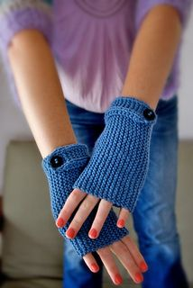 These fingerless gloves are easy to wear and easy to make. They suit a beginner knitter or someone who needs a finished project pronto!