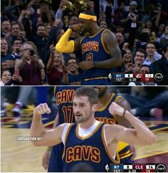 LeBron James and Kevin Love #Cavs #AllForCLE