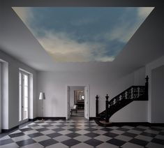 HYPERSKY by Clemens Weisshaar and Reed Kram is a 21st century digital fresco, seamlessly integrated into the entrance hall ceiling of a private residence. HYPERSKY is an augmented reality skylight, revealing the current weather conditions and air traffic above the house.