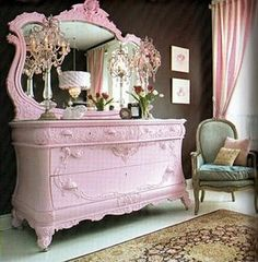 The pink furniture would be perfect for a little girls room. Neutral colors, whites, creams and tans with pink furniture. ohhh, this makes me want to paint my furniture! My New Room, My Room, Girl Room, Girl Nursery, Pretty In Pink, Perfect Pink, Pretty Girls, Pink Dresser, Dresser Mirror
