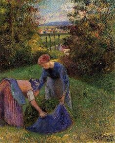 """Women Gathering Grass""  --  1883  --  Camille Pissarro  --  French  --  Oil on canvas  --  Private Collection."