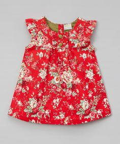 Another great find on #zulily! Red Floral Button-Front Dress - Toddler #zulilyfinds