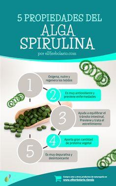 5 Propiedades del alga Spirulina. Antioxidante y depurativo, muy rico en aminoácidos esenciales, Hierro y Omega3. Revista digital y herbolario online www.elherbolario.com
