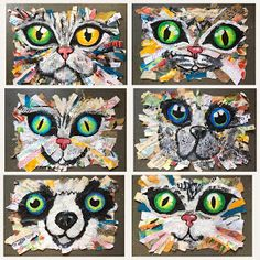 Art Room Britt: Oversized Cat and Dog Mixed-Media Collages. Ages Art Room Britt: Oversized Cat a Art Club Projects, Summer Art Projects, Animal Art Projects, Classroom Art Projects, Art Projects For Teens, School Art Projects, Art Classroom, Art For Kids, Art Classes For Teens