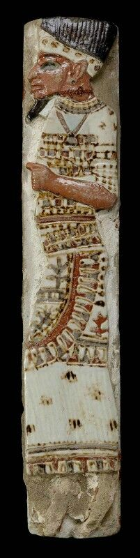 Polychrome faience tile depicting a captive Philistine chief. New Kingdom. 20th dynasty. Reign of Ramesses III. 1184–1153 B.C.   Museum of Fine Arts, Boston