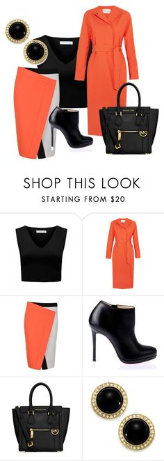 """Untitled #143"" by fashionistaglamourgurl ❤ liked on Polyvore featuring Forever New, Cédric Charlier, Fendi, Christian Louboutin, MICHAEL Michael Kors and Carolee"
