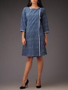 Buy Indigo Stripe Angrakha Boat Neck Block Printed Khadi Dress Cotton Apparel Tops & Dresses Romancing Contemporary Casual Wear in Online at Jaypore.com