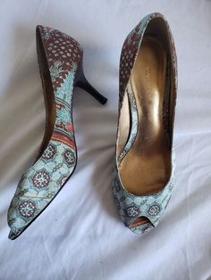 f6f519eef2a Nine West Pattern Print Fabric Stiletto Heels Womens Shoes Size 8.5 M   fashion  clothing