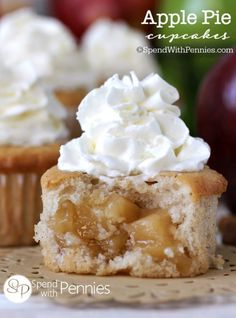 Apple Pie Cupcakes!! Our favorite cupcakes ever!  Soft fluffy cinnamon cupcakes with a surprise apple pie filling in the center! These are SO easy to make!