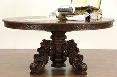Black Forest Carved Oak 1870 Antique Game, Library or Dining Table