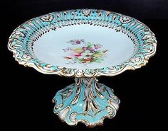 RARE 1850 Antique English Porcelain Turquoise Gold Footed Cake Plate Compote | eBay