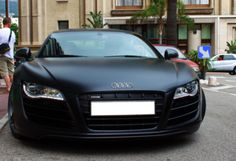 Matte Black Audi R8! Omggggg im dying right now i want this car so bad! Haha