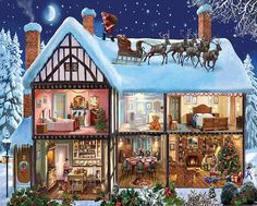 """You'll want to move right into this welcoming house, painted in meticulous detail by English artist Steve Crisp. Santa & reindeer have landed safely on the snowy roof and the jolly man makes his way to one of three chimneys. Just below, a child is """"nestled all snug"""" in bed while the family stockings hang on the nearby mantelpiece. Next door is the nursery and further on is the master bedroom where Dad is pulling out gifts hidden beneath the bed. The first floor of the house is a hive of…"""