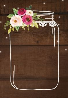 Jar of love - Bridal Shower Invitation Template (Free) Flower Background Wallpaper, Framed Wallpaper, Flower Backgrounds, Wallpaper Backgrounds, Beauty Iphone Wallpaper, Housewarming Invitation Templates, Instagram Frame, Bridal Shower Invitations, Wedding Invitation