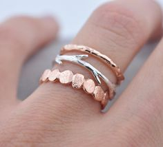 Rose Gold and Silver Pebble Raw Twig Ring Set| Stacking Rings Set| Vermeil Rings