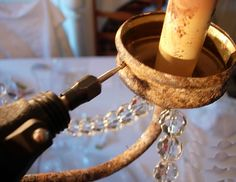 Dining-Room-Chandelier-Very good tutorial on aging brass and how to do the crystals or beads