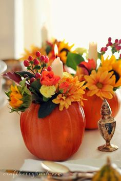 Traditional autumn centrepieces using grocery store flowers - Craftberry Bush