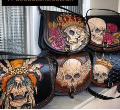 Leather bags with skulls