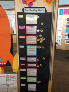 Reading goals for visible learning- I like the kids faces on stars Student Goals, Student Data, Classroom Organisation, Classroom Displays, Classroom Setup, Learning Target Display, Learning Goals Display, Teaching Reading, Teaching Tools