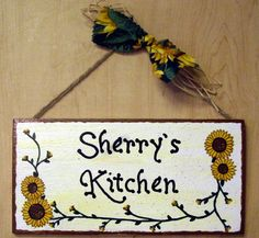 Image detail for -Hand painted Wood Sunflower plaque Cute hand painted personalized ...