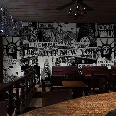 Frete grátis Retro café restaurante criativa sala papel de parede American graffiti mural papel de parede