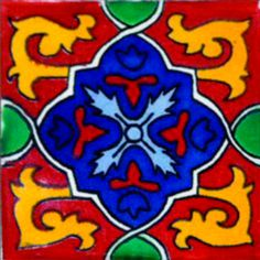 Mexican Talavera Tile Mosaic 4x4 Tiles Clay by Begamexicansupplies, $110.00