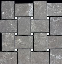 Discount Glass Tile Store - Marble Basketweave Mosaic - Royal Gray with Wooden White Dots, $8.99 (http://www.discountglasstilestore.com/marble-basketweave-mosaic-royal-gray-with-wooden-white-dots/)