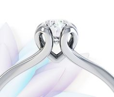 Unusual Engagement Rings: R1D089 Solitaire Engagement Ring with looped claw setting