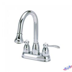 4 in. Centerset 2-Handle High-Arc Bathroom Faucet in Chrome with Pull-Down Sprayer-DISCONTINUED